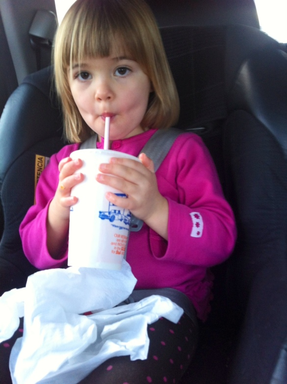 Pro tip: if the milkshake is too heavy for the child to hold while drinking, don't lessen the amount of milkshake, prop it up on something...