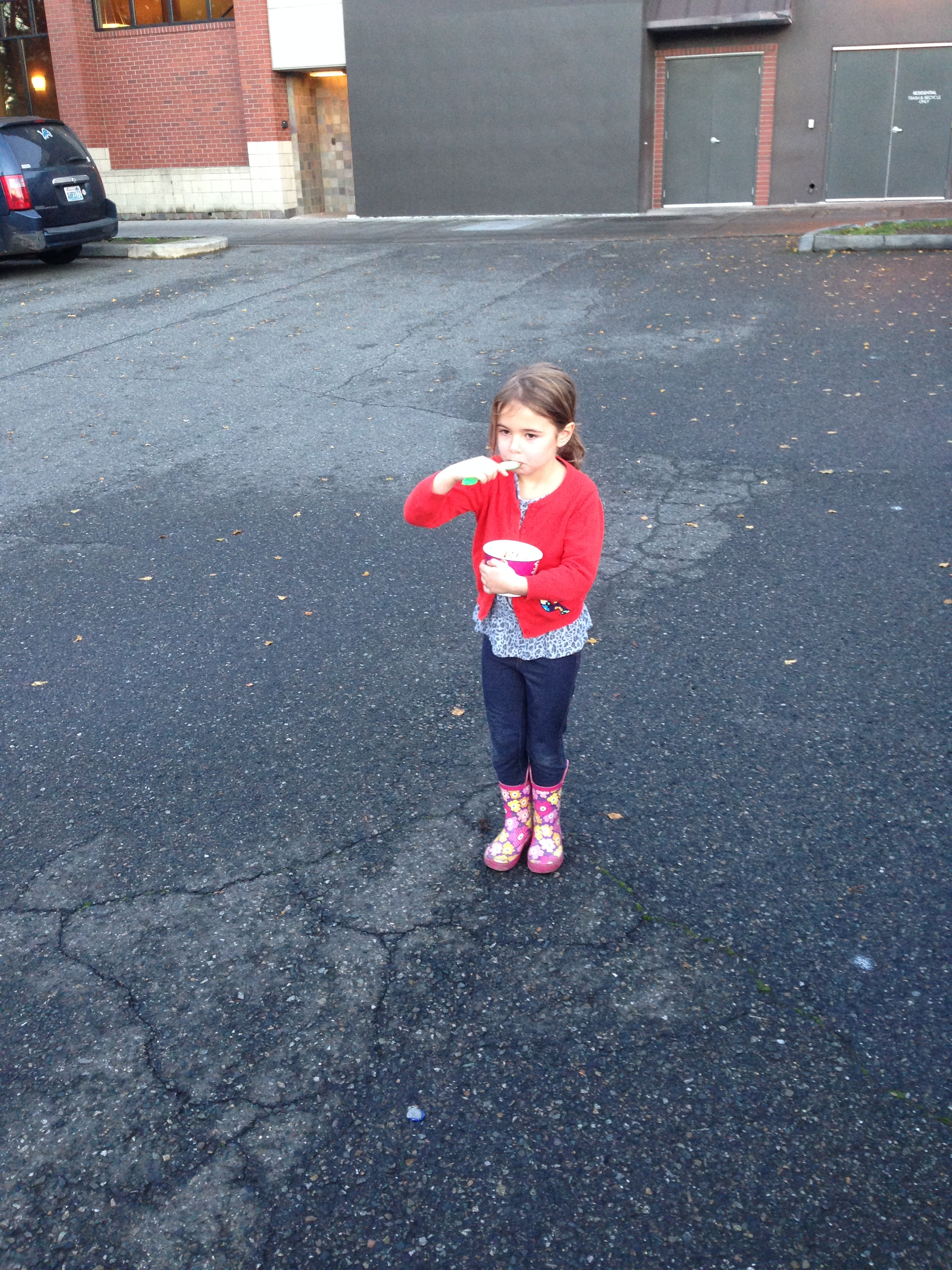 Eatin' fro yo in the parking lot - apres' swim. Queen Anne, Seattle November 2014.